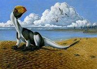 Dilophosaurus on the beach by H. Kyoht Luterman - various sizes, FulcrumGallery.com brand