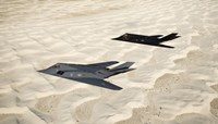 Two F-117 Nighthawk Stealth Fighters over White Sands National Monument Fine Art Print