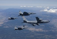 KC-135R Stratotanker RefuelsTthree F-15 Eagles Fine Art Print