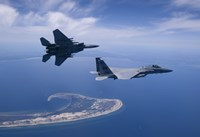 Two F-15 Eagles Fly High over Cape Cod, Massachusetts Fine Art Print
