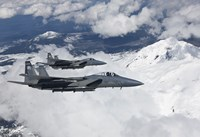 Two F-15 Eagles Fly Past Snow Capped Peaks in Central Oregon by HIGH-G Productions - various sizes