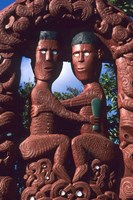 Native Maori, Wooden Tribal Statue, Maori Arts and Crafts Institute, New Zealand by Bill Bachmann - various sizes