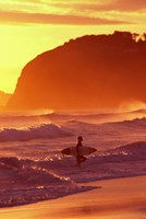Surfer at Sunset, St Kilda Beach, Dunedin, New Zealand Fine Art Print