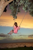 Girl, Rope Swing, Family Fun, Thames, New Zealand Fine Art Print
