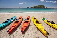 Kayaks on Beach, Hahei, Coromandel Peninsula, North Island, New Zealand Fine Art Print