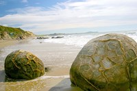 Koekohe Beach, New Zealand, Moeraki boulders, rocks Fine Art Print