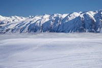 The Roundhill Ski Area with fog covered Lake Tekapo and the Hall Range, South Island, New Zealand by David Wall - various sizes - $32.99
