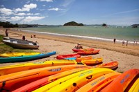 Kayaks on beach, Paihia, Bay of Islands, Northland, North Island, New Zealand by David Wall - various sizes
