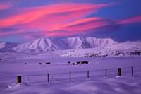 Sunset over Hawkdun Range and farmland, Maniototo, Otago, New Zealand by David Wall - various sizes