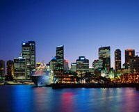 Skyline and Cruise Ship at Night, Sydney, Australia Fine Art Print