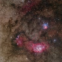 Lagoon Nebula and Trifid Nebula in Sagittarius by Phillip Jones - various sizes