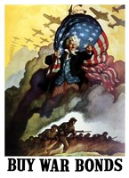 Uncle Sam Urging Troops into Battle Fine Art Print