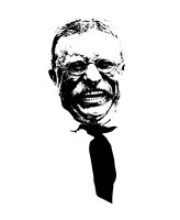 Vector Portrait of Theodore Roosevelt smiling Fine Art Print