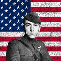 Eddie Rickenbacker in front of the American flag by John Parrot - various sizes, FulcrumGallery.com brand