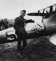 Eddie Rickenbacker with his Fighter Plane by John Parrot - various sizes, FulcrumGallery.com brand