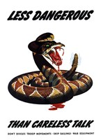 Less Dangerous (War Propoganda Snake Poster) by John Parrot - various sizes