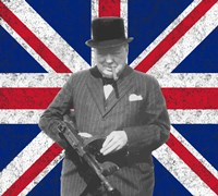 Sir WInston Churchill with Union Jack Fine Art Print