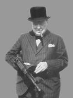 Sir Winston Churchill with a Tommy Gun Fine Art Print