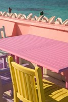 Colorful Cafe Chairs at Compass Point Resort, Gambier, Bahamas, Caribbean Fine Art Print