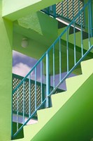 Hotel Staircase (vertical), Rockley Beach, Barbados Fine Art Print