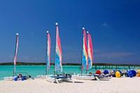Sailing rentals, Beach, Castaway Cay, Bahamas, Caribbean Fine Art Print