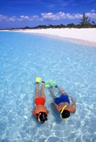 Snorkeling in the blue waters of the Bahamas by Greg Johnston - various sizes