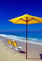 Yellow Chairs and Umbrella on Pristine Beach, Caribbean Fine Art Print