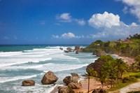 Rocky coastline, Barbados at Bathsheba Framed Print