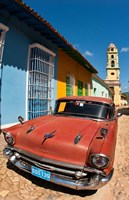 Old Classic Chevy on cobblestone street of Trinidad, Cuba by Bill Bachmann - various sizes