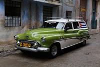 1950's era antique car and street scene from Old Havana, Havana, Cuba Fine Art Print