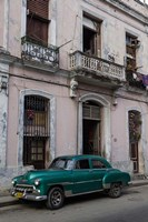1950's era green car, Havana Cuba Fine Art Print