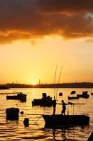 Boats silhouetted at sunrise, Havana Harbor, Cuba by Adam Jones - various sizes, FulcrumGallery.com brand