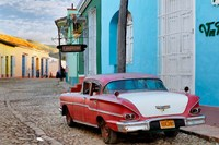 Colorful buildings and 1958 Chevrolet Biscayne, Trinidad, Cuba by Adam Jones - various sizes