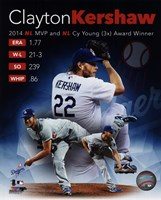 Clayton Kershaw 2014 National League MVP & Cy Young Award Winner Portrait Plus Fine Art Print