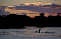 Boaters on Amazon River at Sunset, Amazon River Basin, Peru Fine Art Print