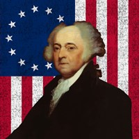 John Adams Against the American Flag Fine Art Print