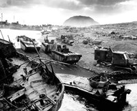 Wreckage During The Battle of Iwo Jima Fine Art Print