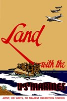 Land with the U.S.  Marines Fine Art Print