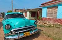 Trinidad, Cuba, blue classic 1950s Chevrolet car Fine Art Print