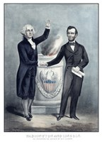 President Washington and President Lincoln Shaking Hands Fine Art Print