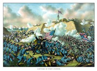Civil War Print Depicting the Union Army's Capture of Fort Fisher by John Parrot - various sizes