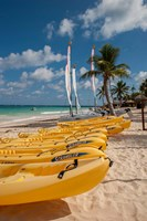 Kayaks and sailboats, Bavaro, Higuey, Punta Cana, Dominican Republic Fine Art Print