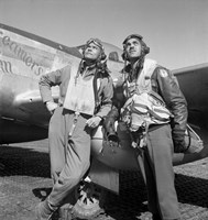 Tuskegee Airmen Posing with a P-51D Aircraft by John Parrot - various sizes, FulcrumGallery.com brand