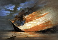 Vintage Civil War painting Warship Burning Fine Art Print