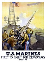 First to Fight for Democracy - Marines by John Parrot - various sizes, FulcrumGallery.com brand