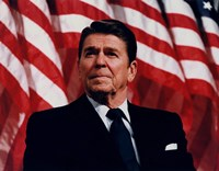 President Ronald Reagan with American Flag Fine Art Print