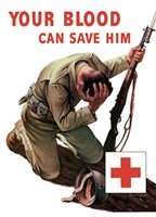 Vintage Red Cross - Your Blood Can Save Him Fine Art Print