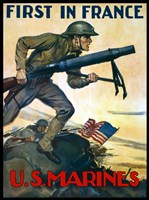 First in France - U.S. Marines Fine Art Print