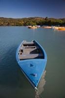 Puerto Rico, Guanica, Bahia de la Ballena bay, boats Fine Art Print