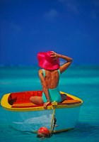 Woman in Boat with Pink Straw Hat, Caribbean Fine Art Print